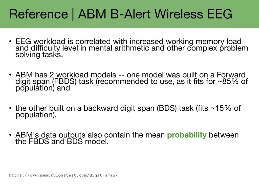 Reference | ABM B-Alert Wireless EEG • EEG work...