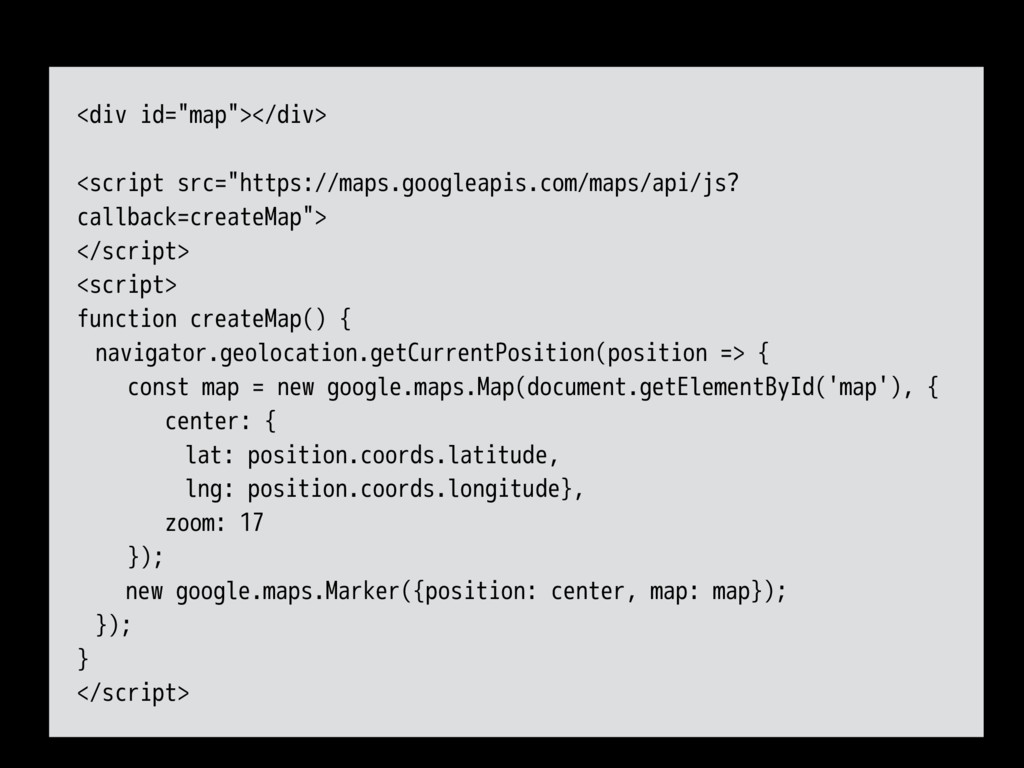 "<div id=""map""></div> <script src=""https://maps...."
