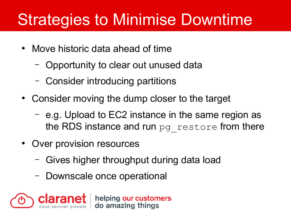 ● Move historic data ahead of time – Opportunit...