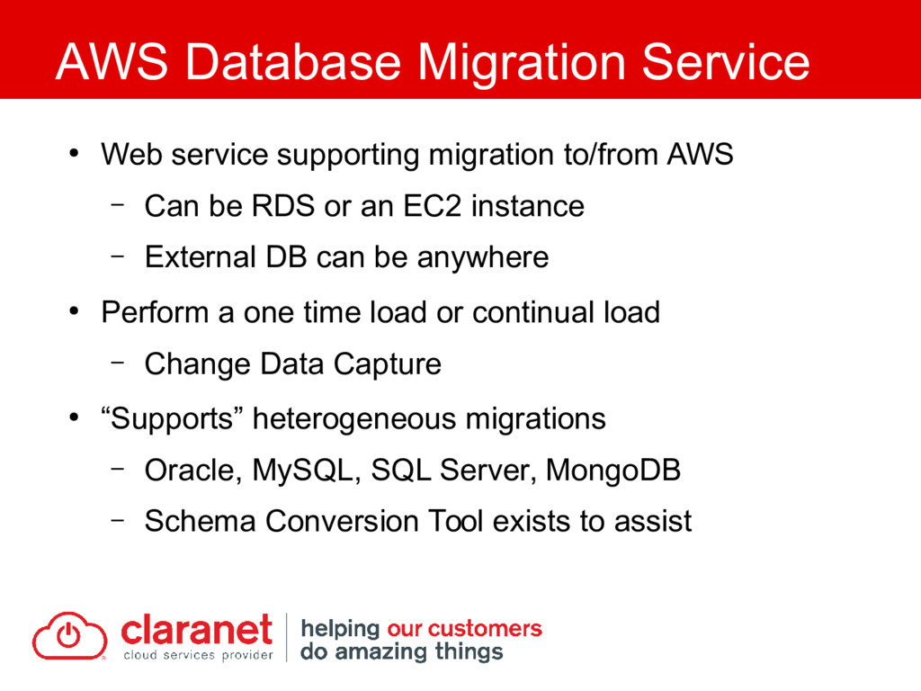 ● Web service supporting migration to/from AWS ...