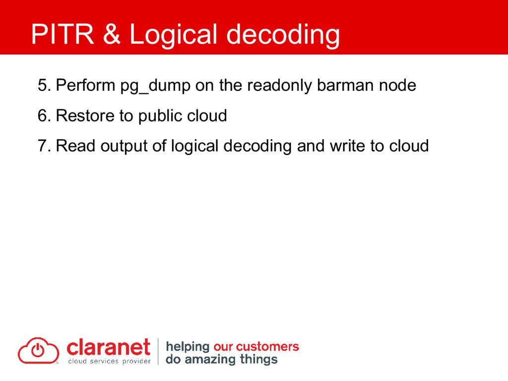 5. Perform pg_dump on the readonly barman node ...