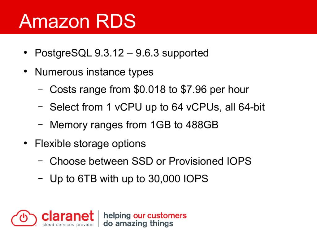 ● PostgreSQL 9.3.12 – 9.6.3 supported ● Numerou...