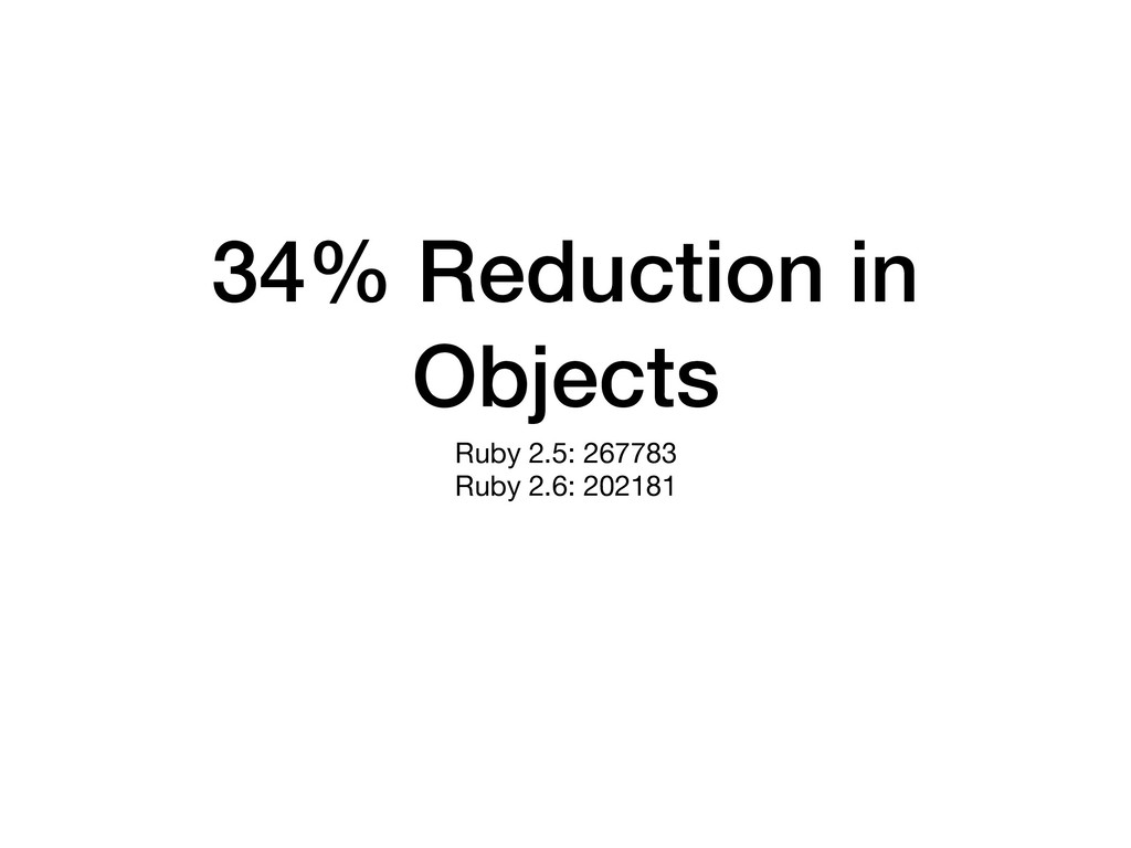 34% Reduction in Objects Ruby 2.5: 267783  Ruby...