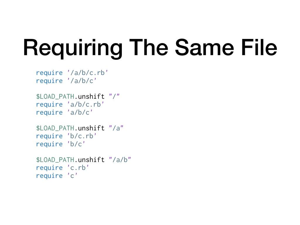 Requiring The Same File require '/a/b/c.rb' req...