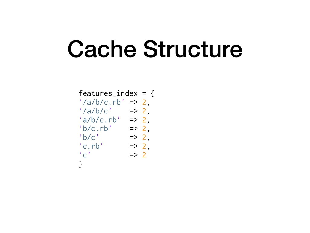 Cache Structure features_index = { '/a/b/c.rb' ...