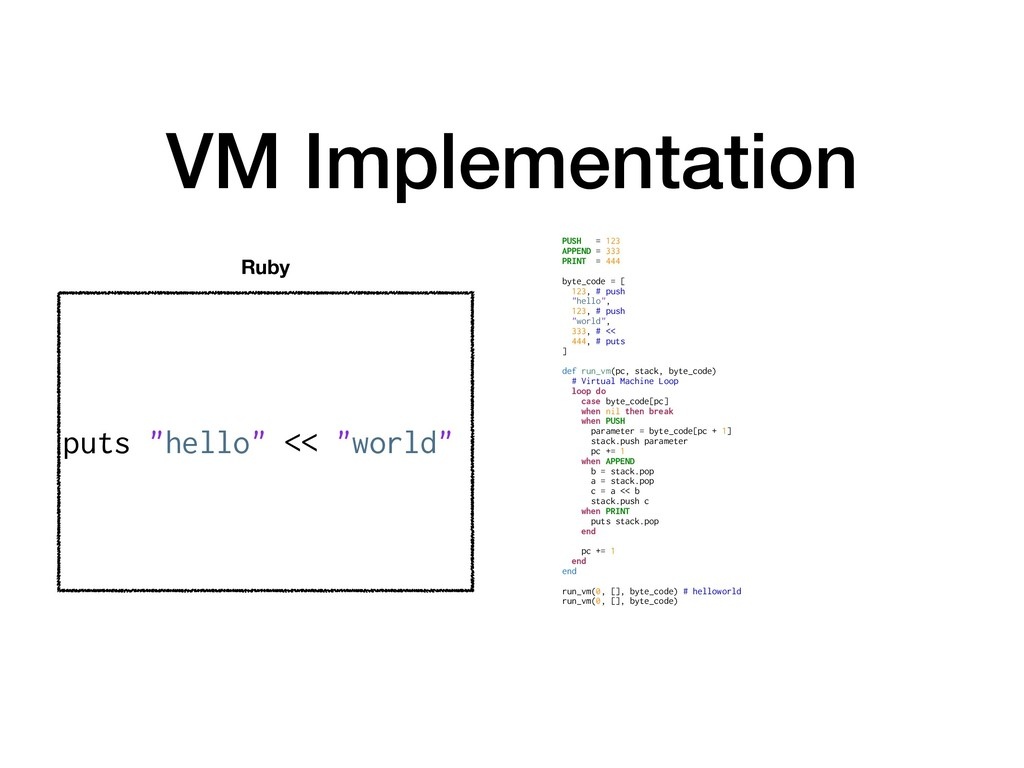 VM Implementation PUSH = 123 APPEND = 333 PRINT...