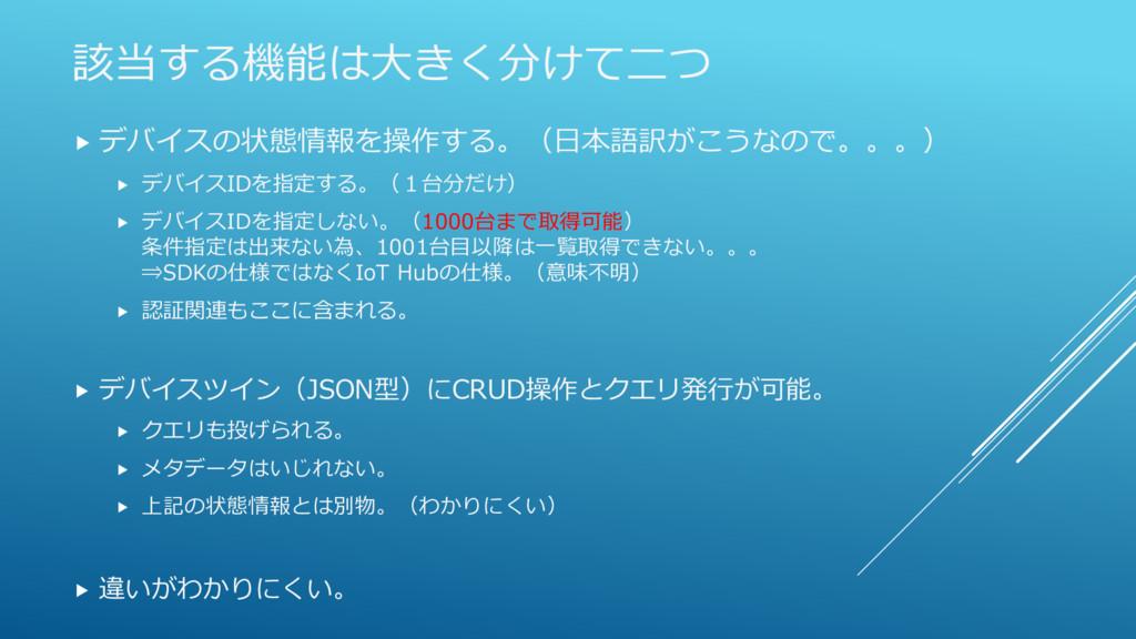 該当する機能は大きく分けて二つ  デバイスの状態情報を操作する。(日本語訳がこうなので。。。...