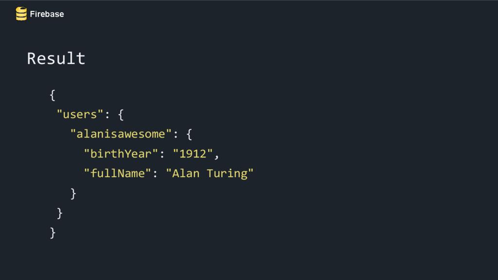 "Firebase { ""users"": { ""alanisawesome"": { ""birth..."