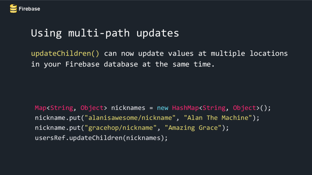 Firebase Using multi-path updates updateChildre...