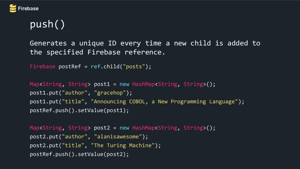 Firebase push() Generates a unique ID every tim...