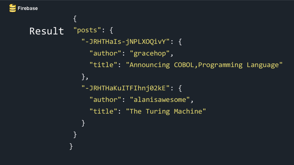 "Firebase Result { ""posts"": { ""-JRHTHaIs-jNPLXOQ..."