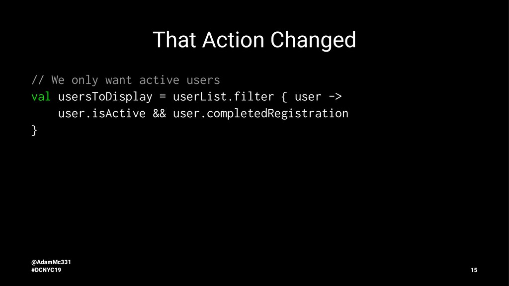 That Action Changed // We only want active user...
