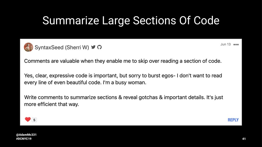 Summarize Large Sections Of Code @AdamMc331 #DC...