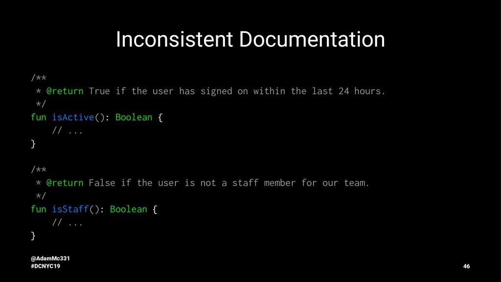 Inconsistent Documentation /** * @return True i...