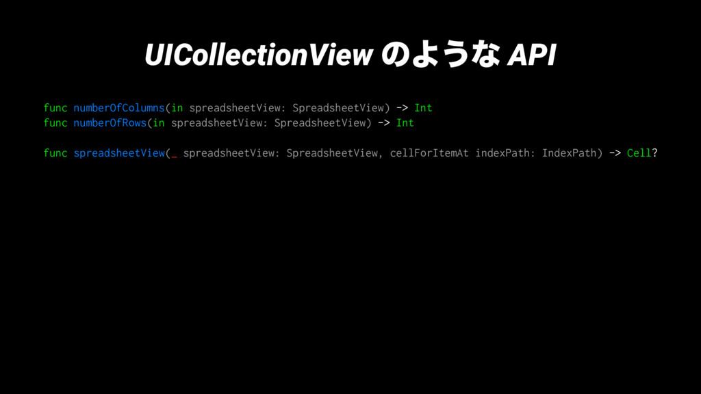 UICollectionView ͷΑ͏ͳ API func numberOfColumns(...