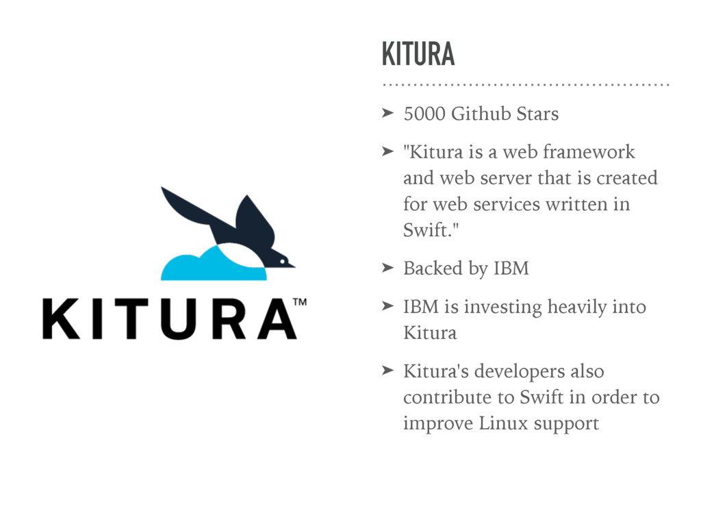 "KITURA ➤ 5000 Github Stars ➤ ""Kitura is a web f..."