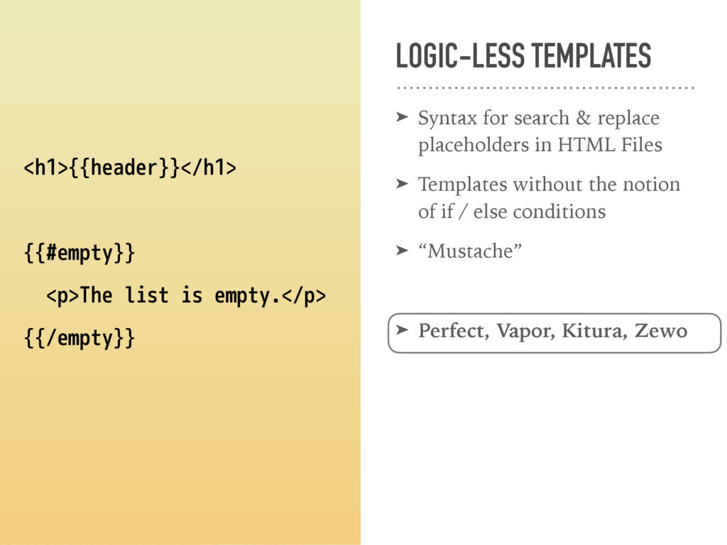 LOGIC-LESS TEMPLATES ➤ Syntax for search & repl...