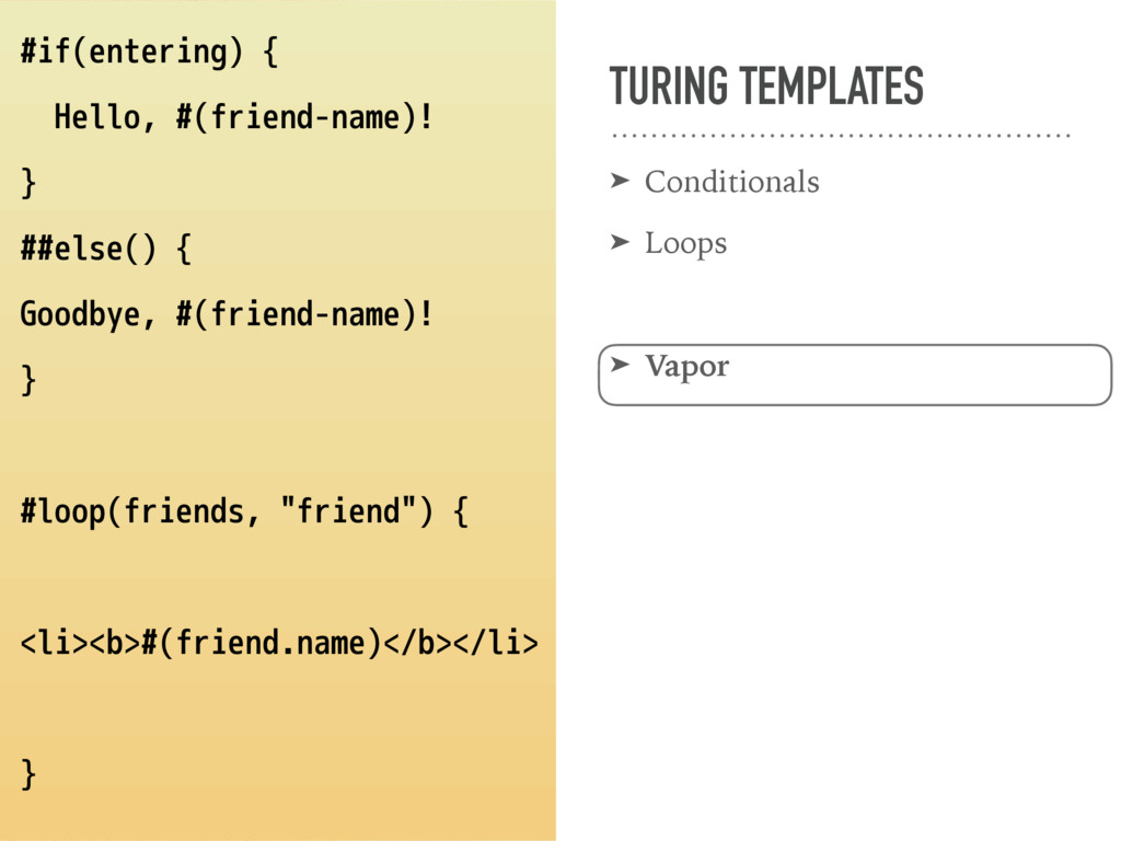 TURING TEMPLATES ➤ Conditionals ➤ Loops ➤ Vapor...