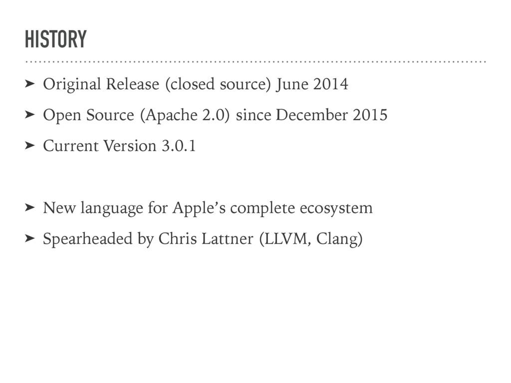 HISTORY ➤ Original Release (closed source) June...