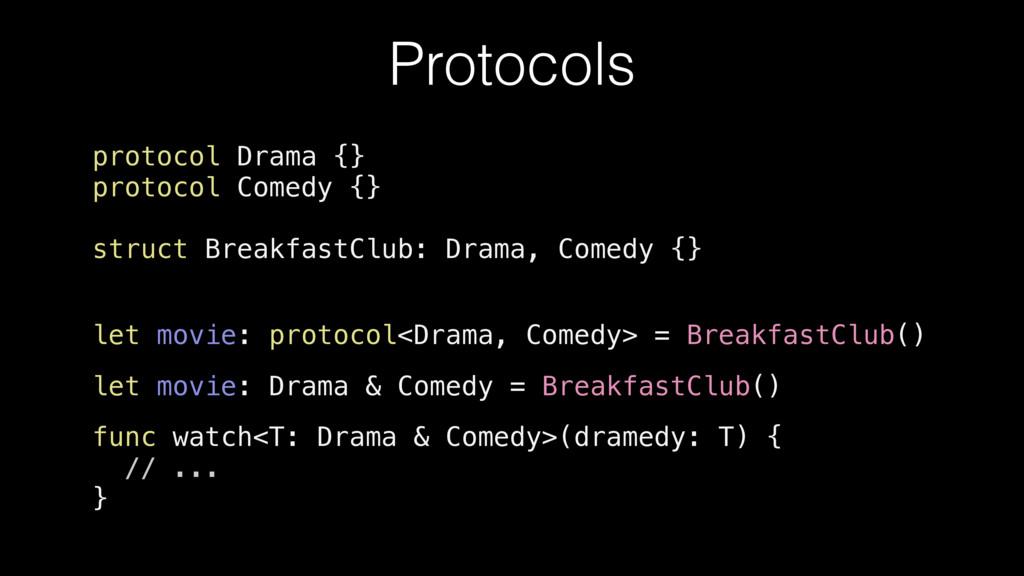 protocol Drama {} protocol Comedy {} struct Bre...