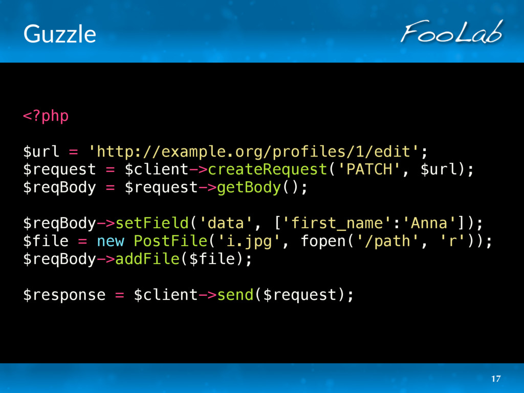 Guzzle <?php $url = 'http://example.org/profile...