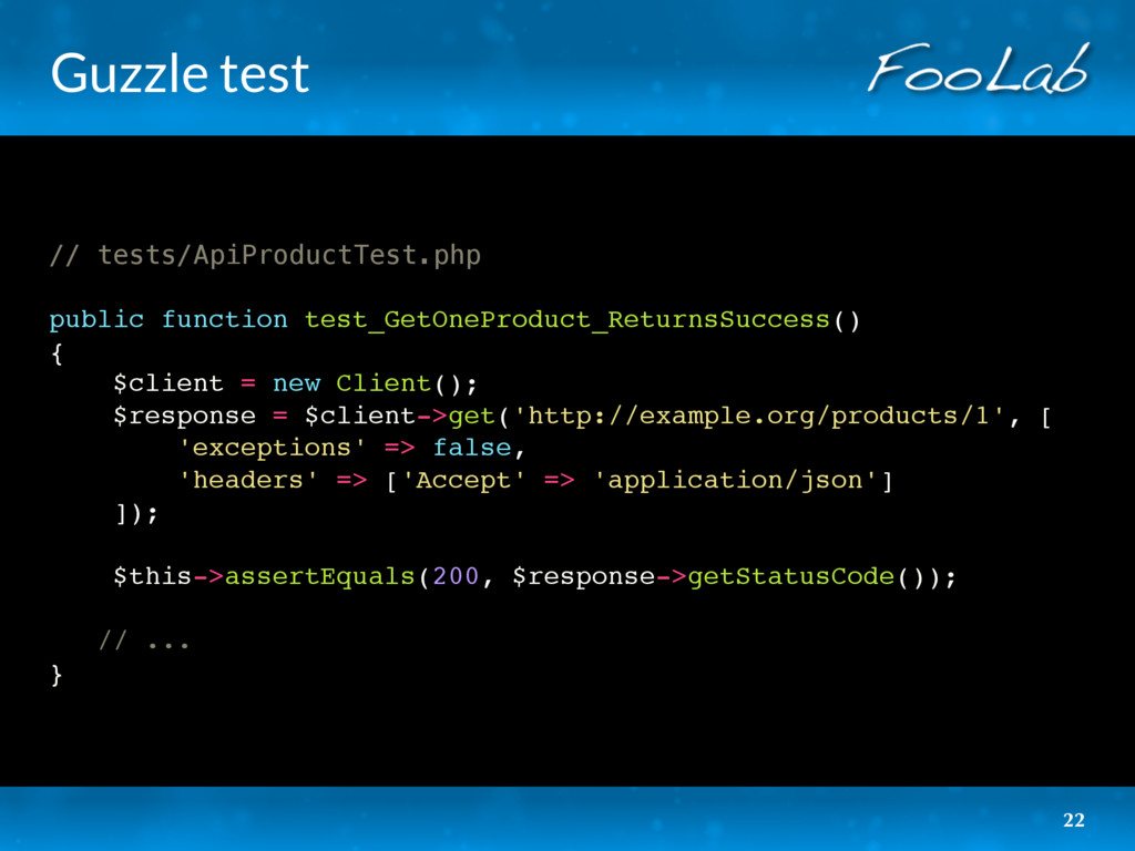 Guzzle test // tests/ApiProductTest.php public ...