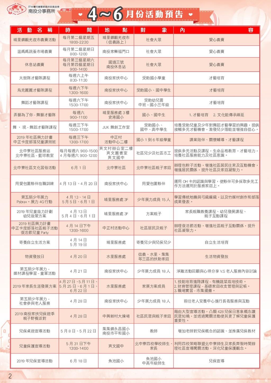 季 刊 2 4~6 月 份 活 動 預 告 活 動 名 稱 時 間 地 點 對 象 內 容 埔...