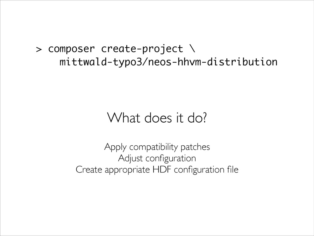 > composer create-project \ mittwald-typo3/neos...