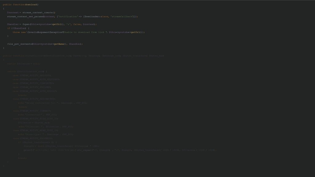 public function download () { $context = stream...