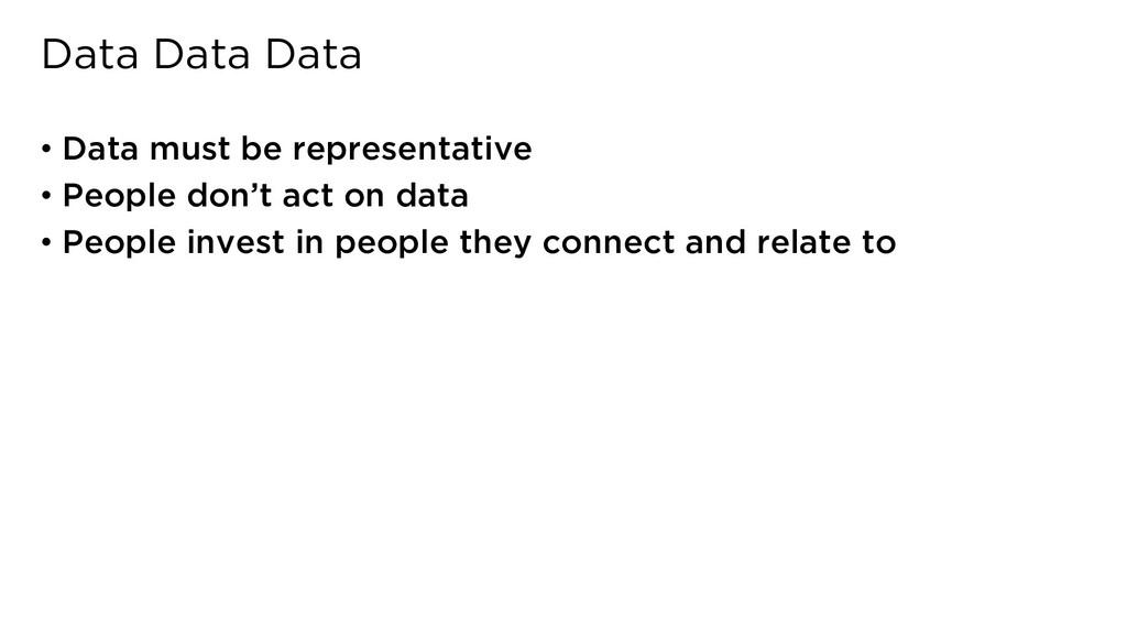 Data Data Data • Data must be representative • ...