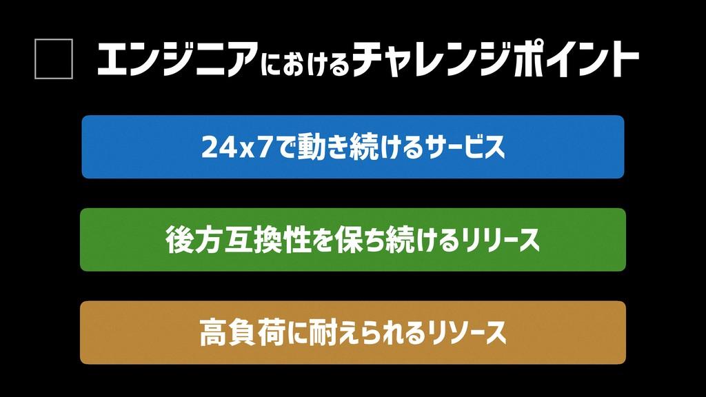 エンジニアにおけるチャレンジポイント 後方互換性を保ち続けるリリース 24x7で動き続けるサー...