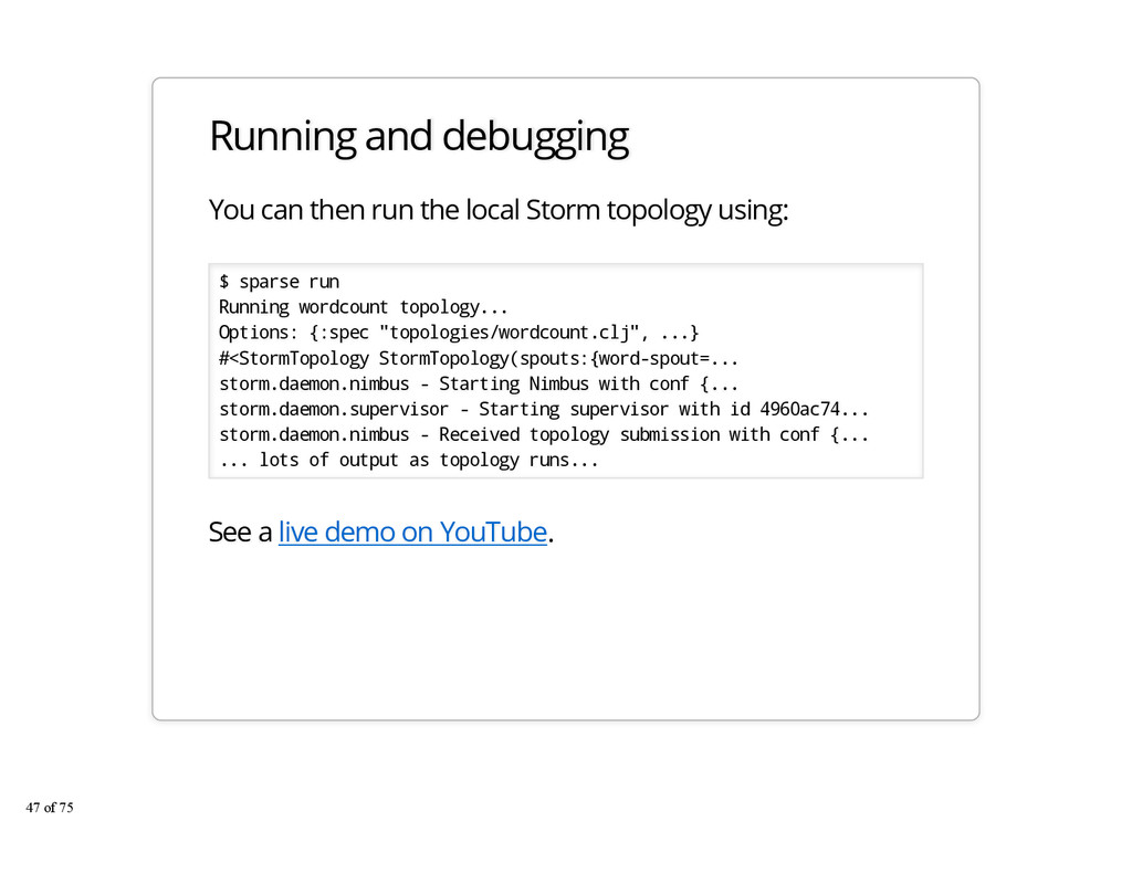 Running and debugging You can then run the loca...