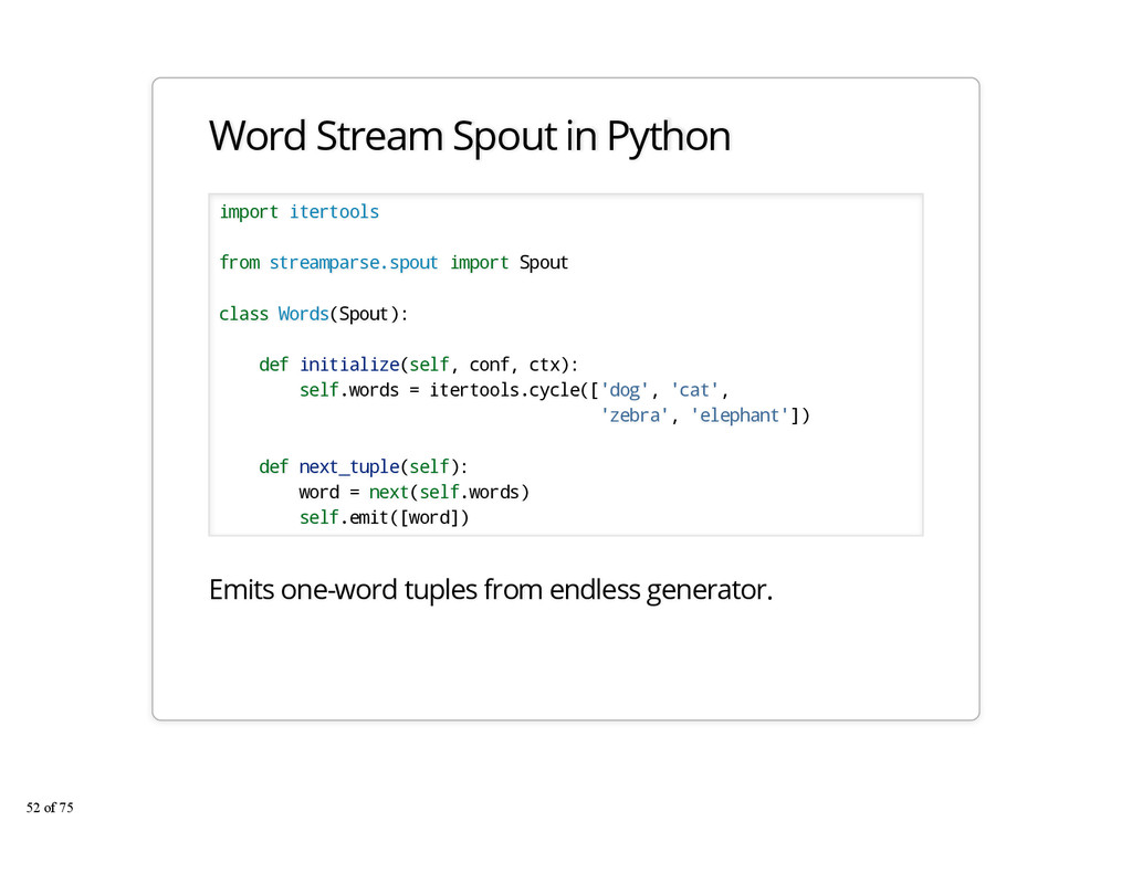 Word Stream Spout in Python import itertools fr...