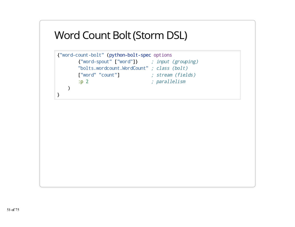"Word Count Bolt (Storm DSL) {""word-count-bolt"" ..."