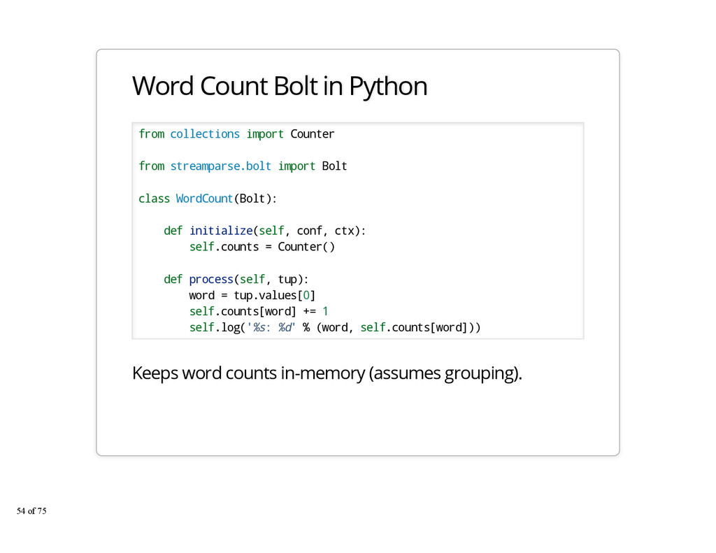 Word Count Bolt in Python from collections impo...
