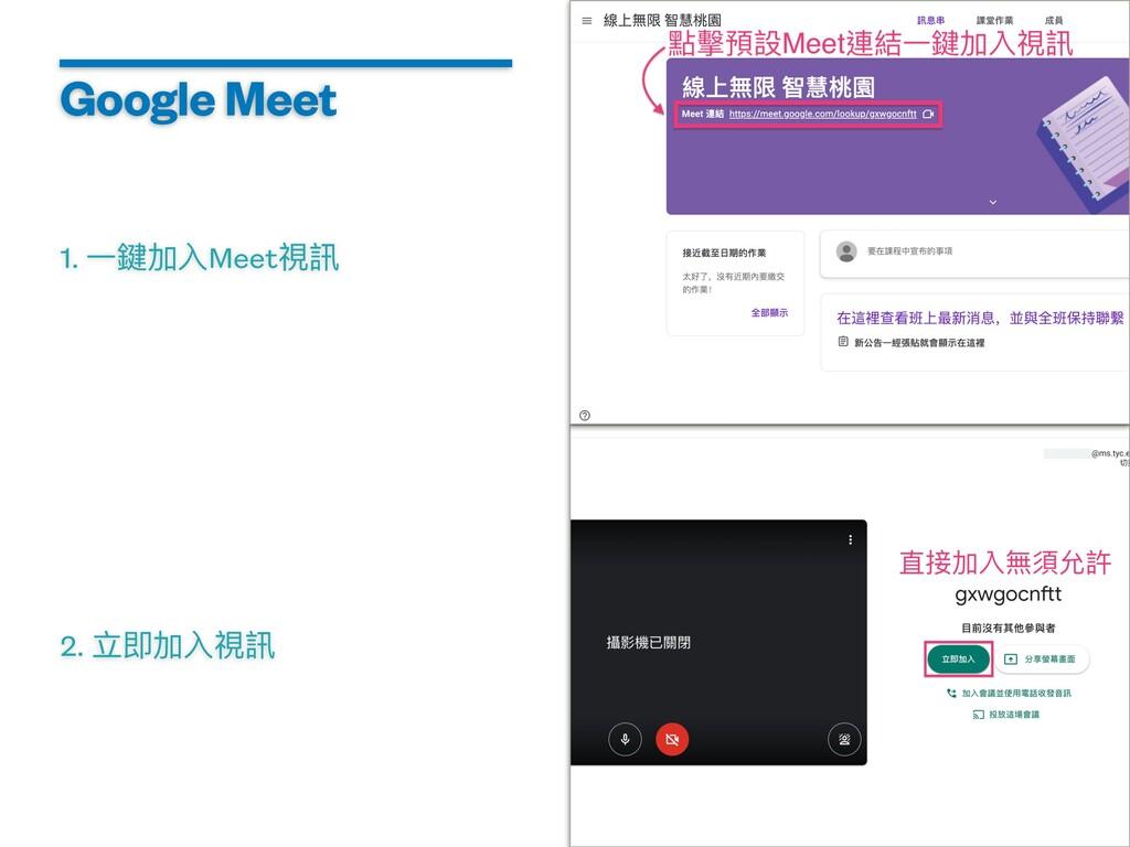 Google Meet 1. ⼀鍵加⼊Meet視訊 2. ⽴即加⼊視訊