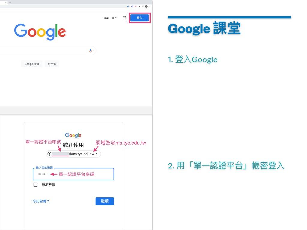 1. 登⼊Google Google 課堂 2. ⽤「單⼀認證平台」帳密登⼊