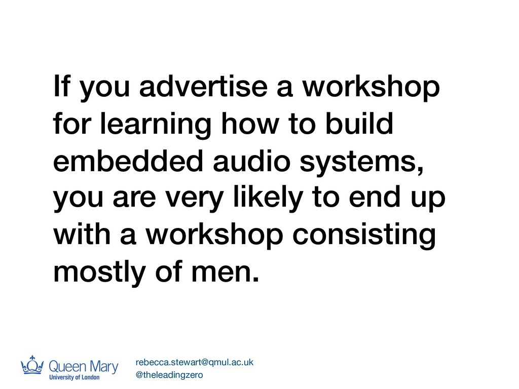 If you advertise a workshop for learning how to...