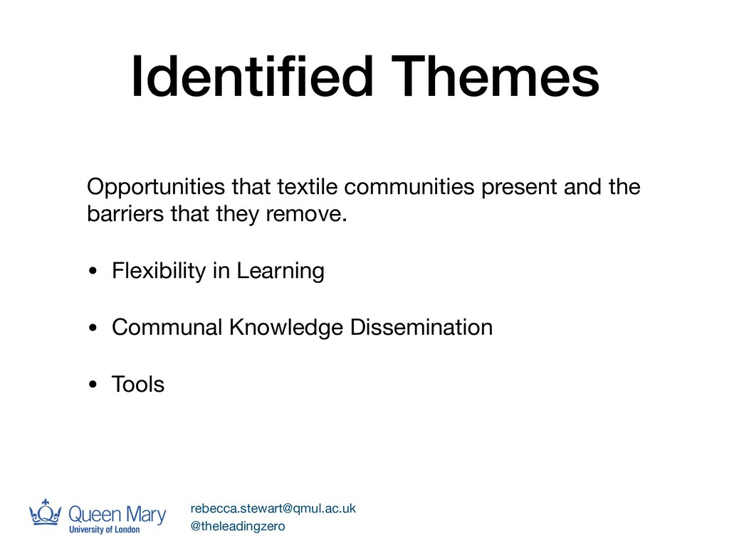 Identified Themes Opportunities that textile com...