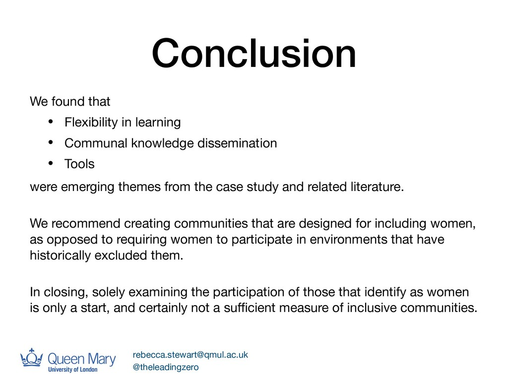 Conclusion We found that  • Flexibility in lear...