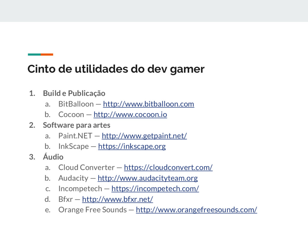 Cinto de utilidades do dev gamer 1. Build e Pub...