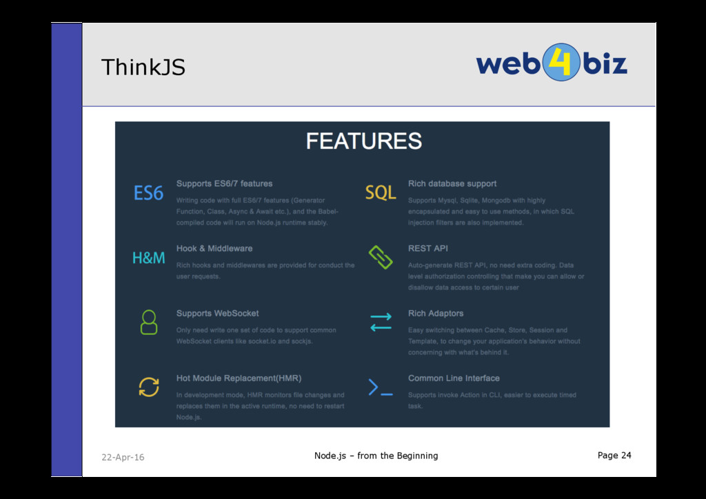 Page 24 ThinkJS Node.js – from the Beginning 22...