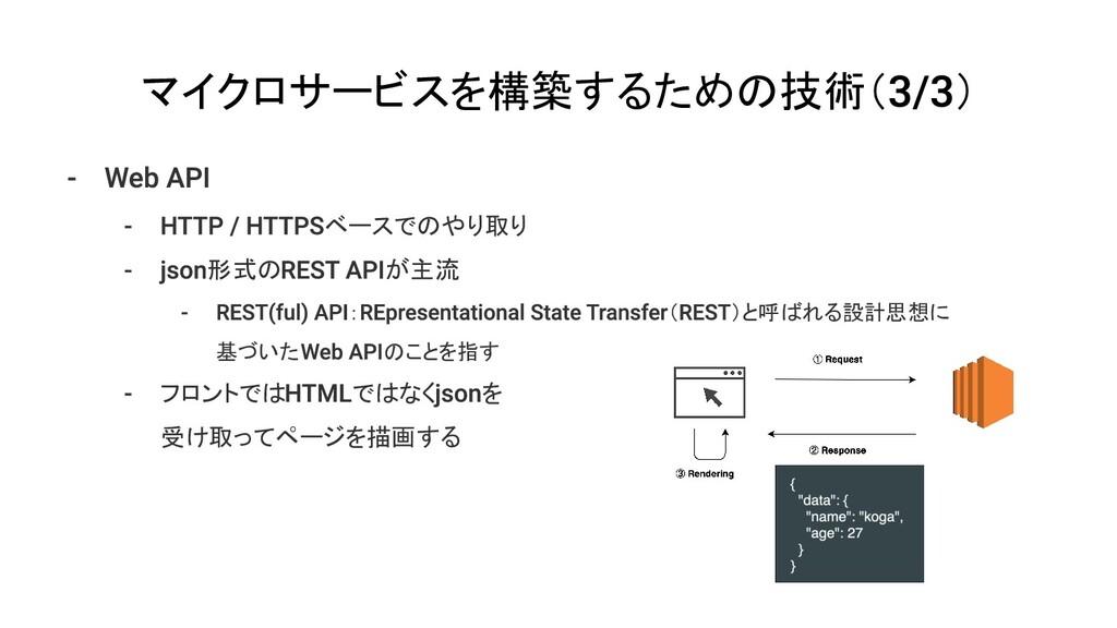 マイクロサービスを構築するための技術( ) ベースでのやり取り 形式の が主流 : ( )と呼...