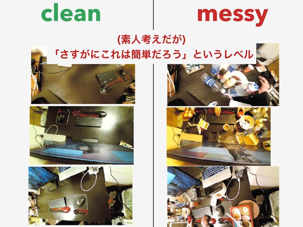 clean messy ૉਓߟ͕͑ͩ  ʮ͕͢͞ʹ͜Ε؆୯ͩΖ͏ʯͱ͍͏Ϩϕϧ