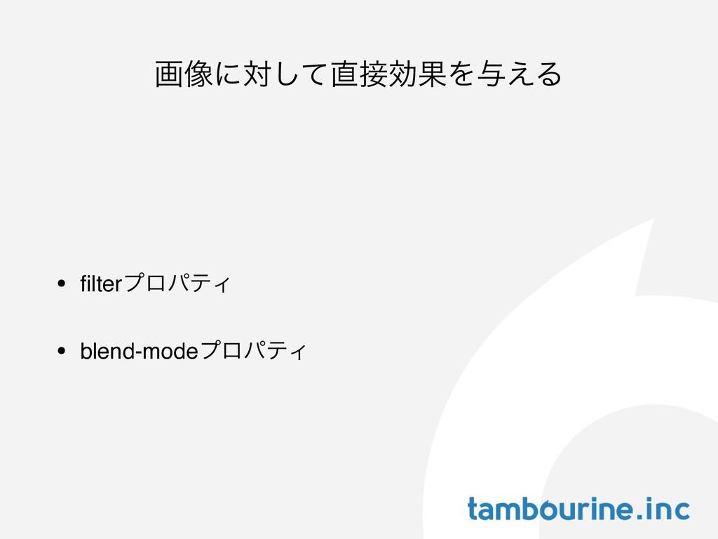 ը૾ʹରͯ͠ޮՌΛ༩͑Δ • filterϓϩύςΟ • blend-modeϓϩύςΟ
