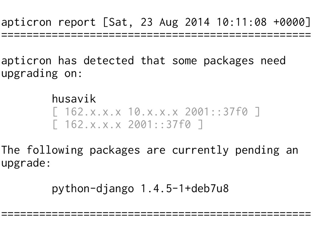 apticron report [Sat, 23 Aug 2014 10:11:08 +000...