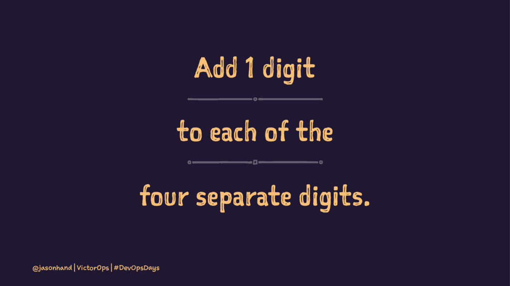 Add 1 digit to each of the four separate digits...