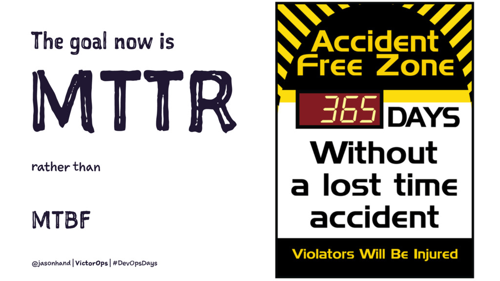 The goal now is MTTR rather than MTBF @jasonhan...