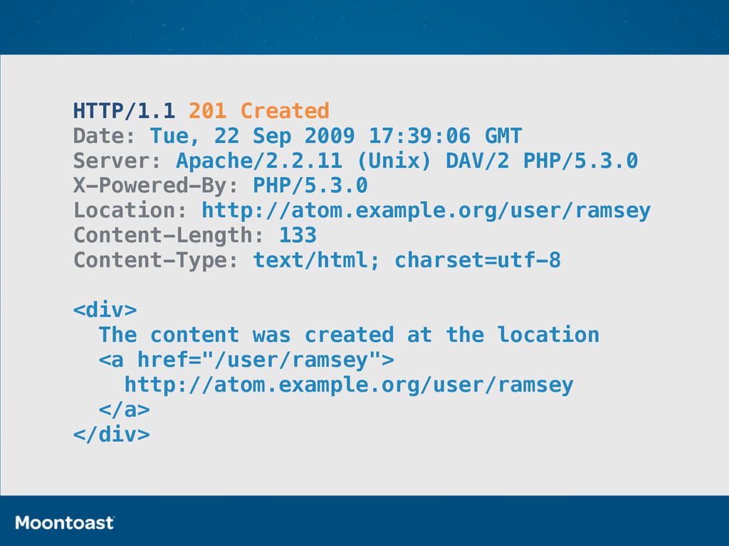HTTP/1.1 201 Created Date: Tue, 22 Sep 2009 17:...