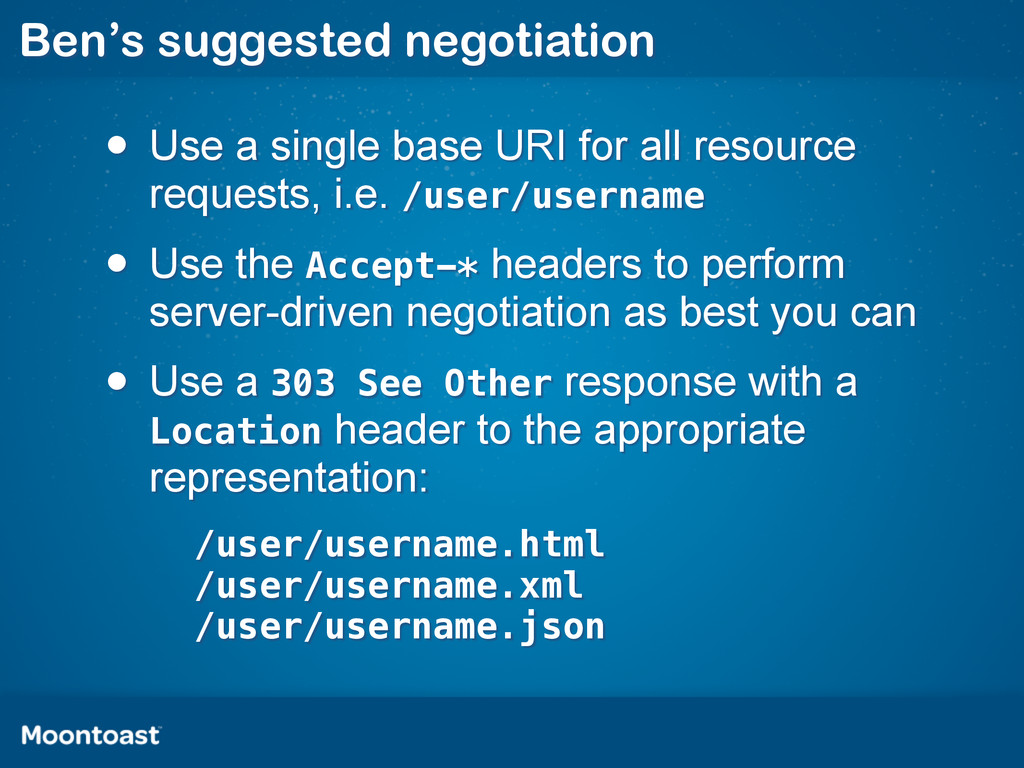 Ben's suggested negotiation • Use a single base...